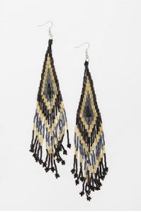 Geo Seed Bead Duster Earrings